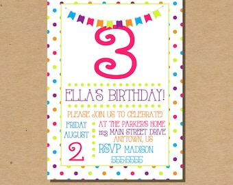 Kids Birthday Invitation, Polka Dots Birthday Invite, Rainbow Birthday Invitation, Digital File