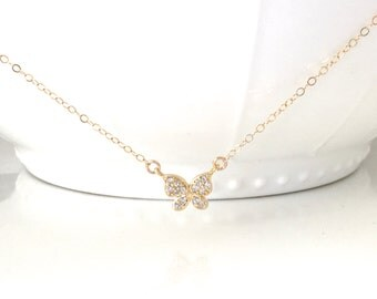 Beautiful Gold Pave Butterfly Necklace, Gold CZ Butterfly Necklace, Wedding Jewelry, Bridal Jewelry, CZ Butterfly Neckalace