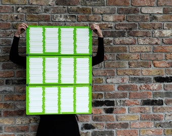 SUPER SALE last 10 - 2016 large sturdy wall calendar screen printed in green