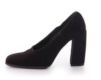 Black Velvet Shoes Black Pumps Black High Heels Via Spiga Shoes Vintage Shoes Women's Size US 6 / UK 4 / EUR 36 Narrow