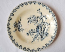 French antique blue transferware ironstone deep plate thistle pattern from Gien