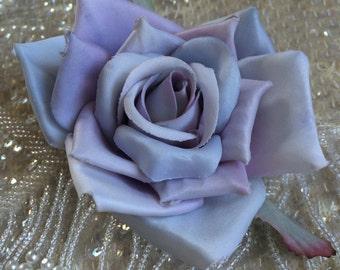 Darling Dusty Lavender Blue rose flower hair clip, vintage inspired, bridal, wedding, bridesmaids, pinup, rockabilly, burlesque, retro