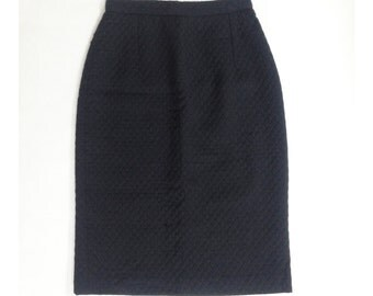Quilted cotton pencil skirt. High waisted pencil skirt size XS
