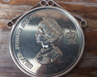 Mounted Tintern Abbey silver jubilee coin 1977