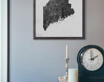 Maine Map Wall Art, Printable Map Wall Decor, Modern Map Art, Scandinavian, Industrial, Minimalist, Loft Cafe, 5x7 8x10 11x14 16x20, E070
