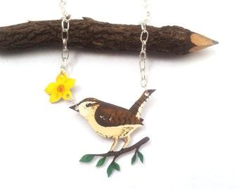 Wren Jewelry, Wren Necklace, Handmade, Wren Bird, Spring, Jewellery, Wearable Art, Shrink Plastic jewelry