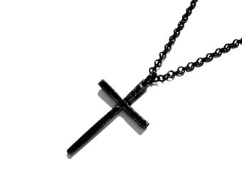 Iron Idol - Black Series - Black Necklace - Masculine Necklace - Gifts for Him - Gifts for Her - Black Cross Necklace by Modern Out