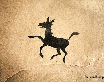 Reserve - Dancing Donkey Silhouette Rubber Stamp - 2 x 2 inches