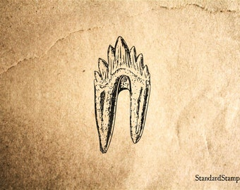 Dinosaur Tooth Rubber Stamp - 2 x 2 inches