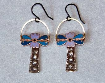 Earrings, Vintage enamel, pewter, brass * 793