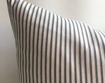 One Black & Cream French Ticking Stripe Pillow cover Schoolhouse Steampunk cover Euro pillow cover 26x26 28x28 industrial pillow case-ZR1A