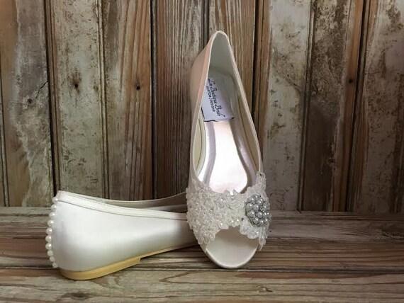 Ivory Satin Bridal Flat Peep Toe Ballet Wedding Beaded