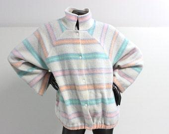 80s Pastel Striped Ms. Tops California Fleece Jacket