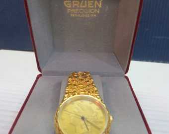 1980's Gruen Precision Liberty Coin Face Watch NOS