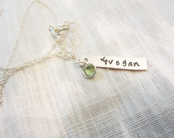 Vegan Bar Necklace - Sterling Silver or Silver Plated Necklace - Gifts for Vegans