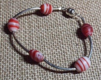 "Silver Bracelet Red White Stripe Glass Bead ""Count Your Blessings"" #386"