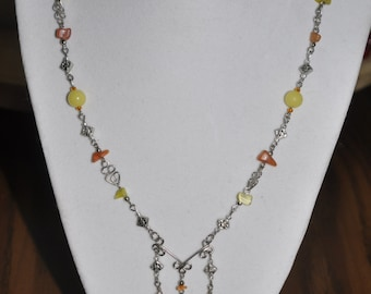 Upcycled Necklace and Earrings Set Yellow Silver Hand Wrought Wire Link  #881