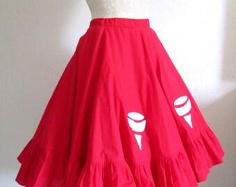 Vintage Circle Skirt Red Handmade