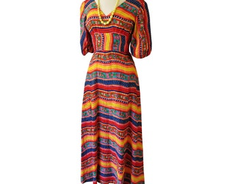 Vintage '60's-'70's Paul Stanley Boho Summer Festival Peasant Colorful Cotton Maxi Dress