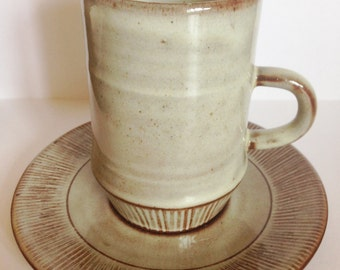 A vintage Creigiau pottery cup and saucer studio pottery made in Wales
