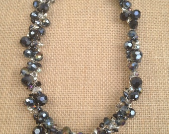 Black and silver wire crochet necklace