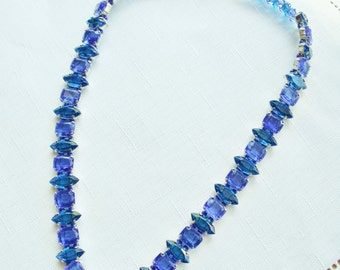 Dazzling Display Of Blue Sapphire & Blue Zircon Rhinestone Statement Necklace