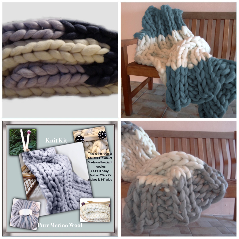 Knitting Chunky Yarn On Small Needles : Color knit kit new chunky blanket needles