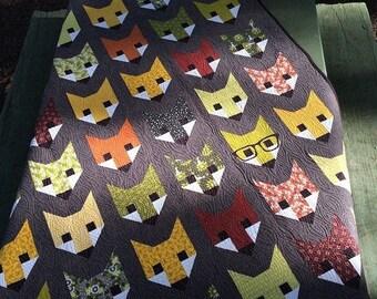 Fancy Fox quilt pattern - Elizabeth Hartman, Oh Fransson - woodland quilt pattern, mini quilt pattern, modern quilt
