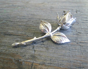 Vintage Silver Rose Brooch, Cottage Chic Brooch, Silver Toned Flower Brooch, Mother's Day Gift, Gift for Mom, Mothers Day,