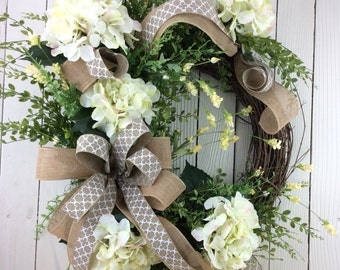 Front door wreath, Hydrangea Wreath, White Hydrangea Wreath, Hydrangea Wreath Spring, Summer Wreath, All Season Wreath