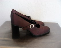 90s ESPRIT Burgundy Iridescent Mary Jane Heels - 7.5