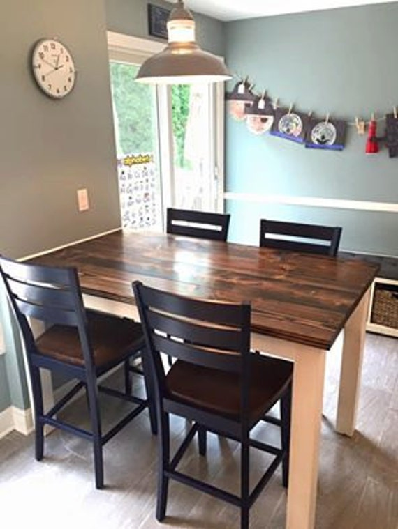counter height farmhouse table solid wood farmhouse dining. Black Bedroom Furniture Sets. Home Design Ideas