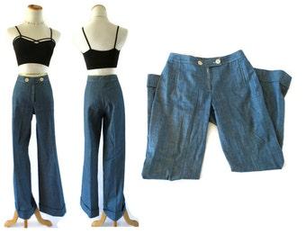 70s Jeans Sailor Pants Nautical Trousers Denim Flares 1970s Hippie Boho Bell Bottoms Size Medium