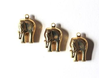 Gold Elephant Pendants. Three pieces.