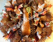Upscale Fall Deco Mesh Wreath in Rich Fall Colors Embellished with Hammered Metal Pumpkin