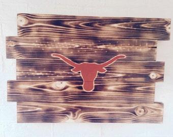 Texas Longhorns- Colleg Football- Wooden Sign- Wall Hanging- Man Cave Sign