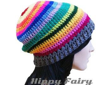 rainbow tones beanie with gray trim