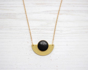 Semicircle Onyx Moon Brass Necklace