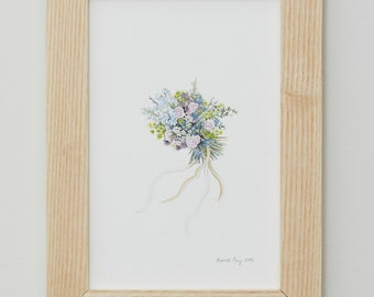 Personalised Miniature Posy Painting - Framed