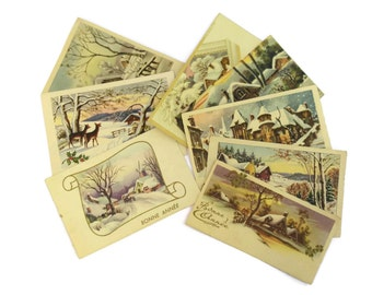 French Vintage Christmas Gift Tags. Illustrated French Noel White Christmas Cards. Christmas Scrapbook Supplies.