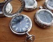 Engraved Silver Pocket Watch Blue Dial Groomsmen Gift Wedding Personalized Present