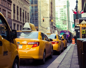 New York City Print, Yellow Cabs Print, NYC Photography, New York Cabs Print, NYC Home Decor, New York Taxis Print | Wall Art Print