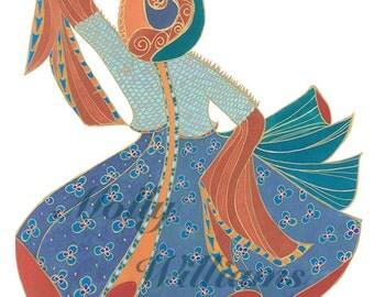 Dervish dancer blue and orange art print