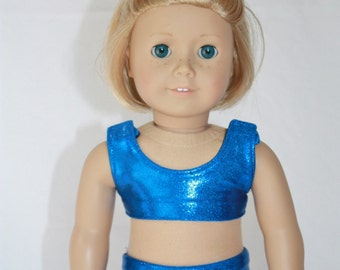 """Cheerleader Outfit for  18"""" American Girl Doll- Sports Bra, Shorts, and Bow - Royal Blue Mystique and Black"""