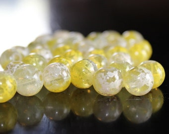 40 drawbench round glass beads, spray painted style, 10 mm, hole 1.5 mm, yellow, white, and clear