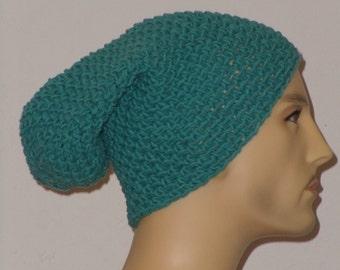 Crochet hat in a lighter Prussian blue