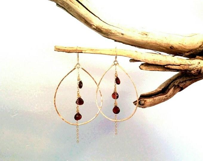 Gemstone Hoop Earrings, Gemstone Briolette, 14k Gold Fill, or Sterling Silver, Gold Hoops Earrings, Chain Earrings, Chandelier Earrings