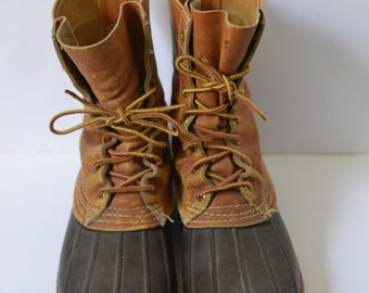 """Vintage LLBEAN SCRIPT Label Tan Bean Boots Maine Hunting Shoe 8"""" Tall Approximately Mens Size 6/7 Womens Size 8/8.5 Made in USA Iconic"""