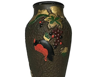 Antique goofus glass vase 9 inch painted bird and grapes jar