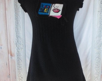 M - Boho Funky Black Wool Dress Upcycled Quirky